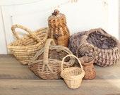 Vintage Miniature Basket Lot Small Baskets Various Shapes Woven Baskets