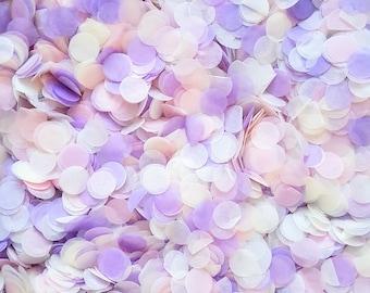 Biodegradable Confetti - Pink Blush, Lilac Purple, Ivory Cream Confetti Circles Mix - Bulk Confetti, Wedding Confetti up to 100 guests