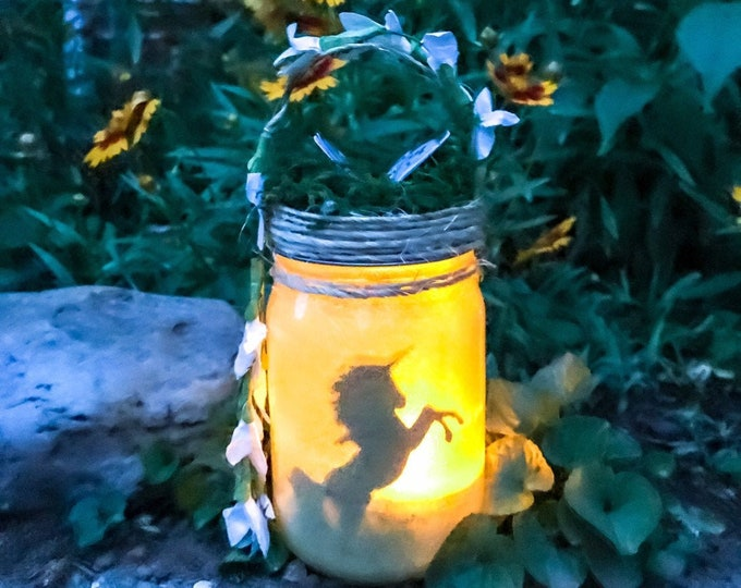 Featured listing image: Unicorn Jar Light, Graduation Gift,Jar Lantern,Birthday Gift,Baby Shower Gift,Wedding Decor,Party Decoration,Night Light,Baby Shower Decora