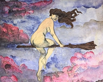 "Original Art Print, 10x10 Witch Print, ""Magical Flight"" Witch Flying Sabbat Art,Sexy Witch Pinup Art,Full Moon Fantasy Pagan Art,Witch Decor"