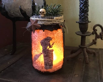 Baba Yaga light jar, Primitive Lantern, Witchy Decor, Pagan Decor, Altar Decor, Witch light jar, Folk Horror Decor, Kitchen Witch light