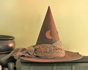 Tree Topper Witch Hat,Primitive Witch Hat,Moon and Stars Plaid Hat,Decorative Witch Hat,Magical Home Decor,Witch Halloween Decoration