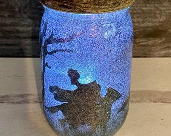 Lighted Halloween Jar, Sleepy Hollow Lantern, Halloween Decoration, Legend of Sleepy Hollow, Headless Horseman, Party Decoration