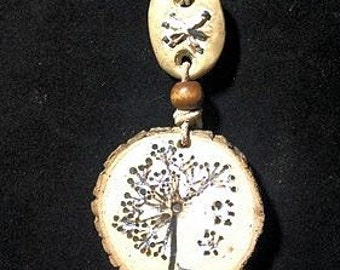 Handmade Dandelion Pyrography Necklace,Handpainted Woodburned Pendant,Nature Lover Folk Jewelry,One-of-a-kind Rustic Jewelry
