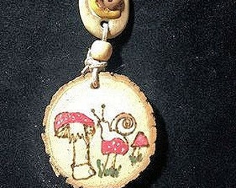 Handmade Mushroom Necklace, Rustic Folk Pendant,Snail Mushroom Pyrography Necklace,Woodburned Nature Pendant,Rustic One-of-a-kind