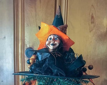 Limited Edition Halloween Witch Hat Tree Topper, WitchyPoo Hat, Bewitching Handmade Hat, Decorative Witch Hat, Witch's Ball