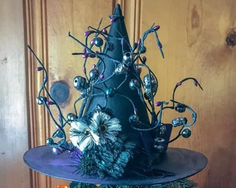 Limited Edition Halloween Witch Hat Tree Topper, Owl  Witch Hat, Bewitching Handmade Hat, Decorative Witch Hat