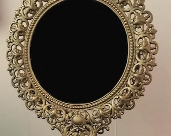 Extra Large Vintage Cast Iron Scrying Mirror with Swivel Mirror