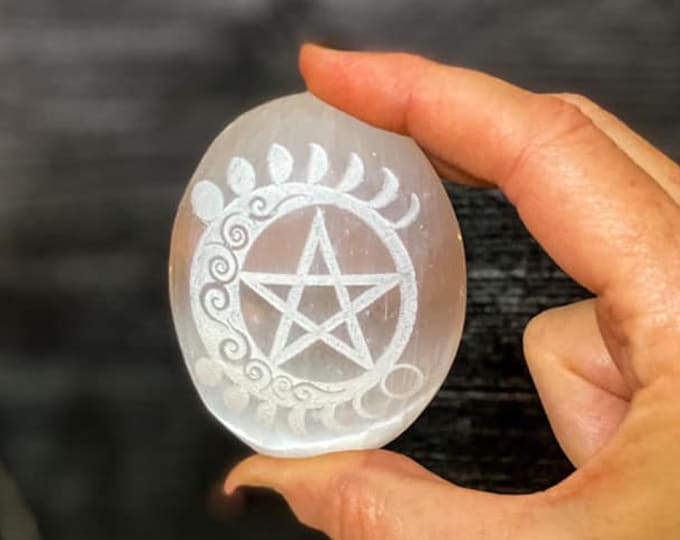 Featured listing image: Celtic Moon Phase Pentacle Selenite Palm Stone