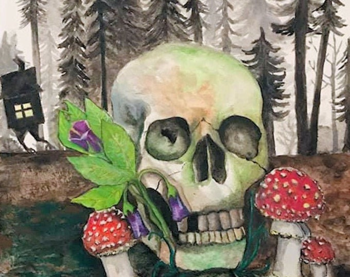 Featured listing image: Original Art Print Baba Yaga, Forest of Baba Yaga, Les Baby Yagi, Watercolor Artwork, Watercolor Print, Witch Art Print