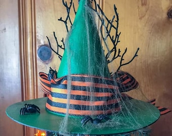 Limited Edition Halloween Witch Hat Tree Topper, Spider Primitive Witch Hat, Bewitching Handmade Hat, Decorative Witch Hat