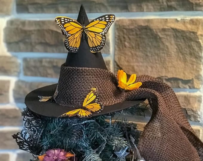 Featured listing image: Summer Tree Topper, Black Hat Society,Primitive Witch Hat with Butterflies,Bewitching Handmade Hat, Decorative Witch Hat,Magical Home Decor
