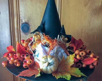 Limited Edition Halloween Witch Hat Tree Topper, Harvest Hat, Bewitching Handmade Hat, Decorative Witch Hat, Witch's Ball
