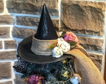 Summer Tree Topper, Black Hat Society,Primitive Witch Hat with Flowers,Bewitching Handmade Hat, Decorative Witch Hat,Magical Home Decor