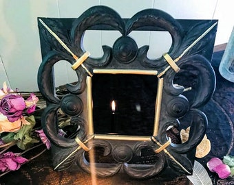 Fleur de Lis Scrying Mirror,  Witch's Mirror, Witch's Glass,Divination Tool,Occult Mirror, Witchcraft Tool, Psychic Clairvoyant