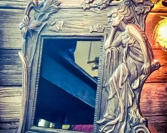 Antique Art Nouveau Scrying Mirror #1, Vintage Divination Mirror, Art Nouveau Black Mirror, Black Scrying Mirror, Cast Iron