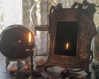 Vintage Scrying Mirror, Art Nouveau, Antique Art Deco Scrying Mirror, Witchcraft Divination Tool