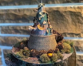 Summer Tree Topper, Black Hat Society,Primitive Witch Hat with Mushrooms,Bewitching Handmade Hat, Decorative Witch Hat,Magical Home Decor
