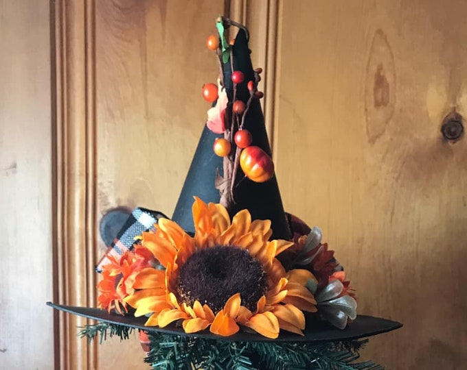Featured listing image: Limited Edition Halloween Witch Hat Tree Topper, Sunflower Primitive Witch Hat, Bewitching Handmade Hat, Decorative Witch Hat