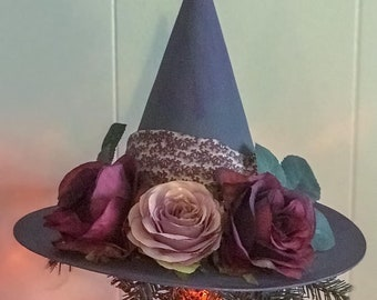 Romantic Tree Topper, Black Hat Society,Primitive Witch Hat with Flowers,Bewitching Handmade Hat, Decorative Witch Hat,Magical Home Decor