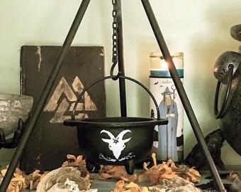 Witch Cast Iron Cauldron Set, Hand painted goat cauldron, Hand painted cat cauldron, Incense cauldron, Cat or Black Phillip Cauldron