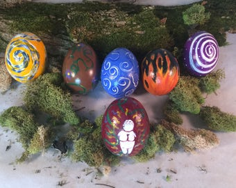 Full Set Handpainted Goddess Eggs, Handpainted Elemental Ostara Eggs,Decorated Easter Eggs, Earth Air Fire Water Decorated Egg, Spring Decor