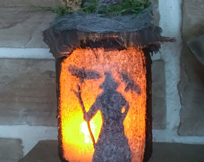 Featured listing image: Odin light jar, Primitive Odin Lantern, Altar light jar, Witchy Decor, Pagan Decor, Altar Decor, Norse lantern, Sleipnir Odin light