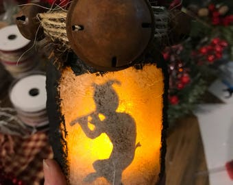 Pan Jar Lantern, Pan Playing Pipes Light, Pagan Light, Pan God of the Wild decoration piece, Fertility God Jar Lantern