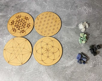 Small Crystal Grid Set, Wooden Crystal Grids and Crystals