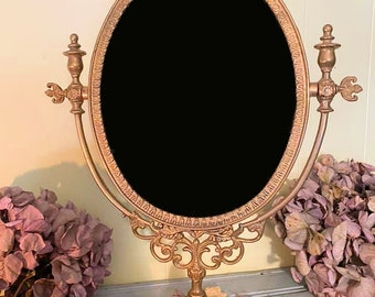 Vintage Brass Swivel Scrying Mirror, Brass Victorian Scrying Mirror, Witchcraft Divination Tool