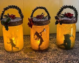 Christmas Elf Fairy Jar, Yule Fairy Lantern, Fairy In a Jar, Fairy Light, Birthday Gift,Wedding Decoration,Baby Shower, Party Decoration