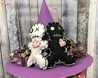 Limited Edition Voodoo Halloween Witch Hat, Large Size, Tree Topper, Glittery Witch Hat, Bewitching Handmade Hat, Decorative Witch Hat