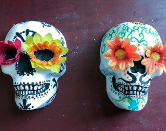 Dia de los Muertos skull decoration, skull wall hanging, skull decoration, day of the dead skull