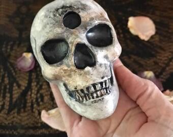 Skull Candleholder, Chime Candleholder, Skull Altar Candleholder, Handmade and Hand-painted skull