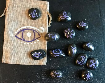 Full set of hand-painted Witch's Runes with hand-painted bag