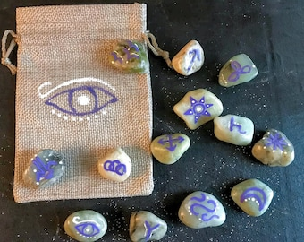 Witch's Runes Hand-painted Stone Set with Bag
