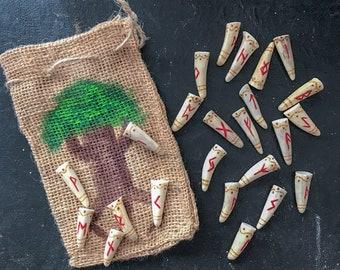 For Monte--  Antler Rune Set with bag, Elder Futhark antler rune set, Pyrography antler tip runes, Viking Divination set, Rustic Rune