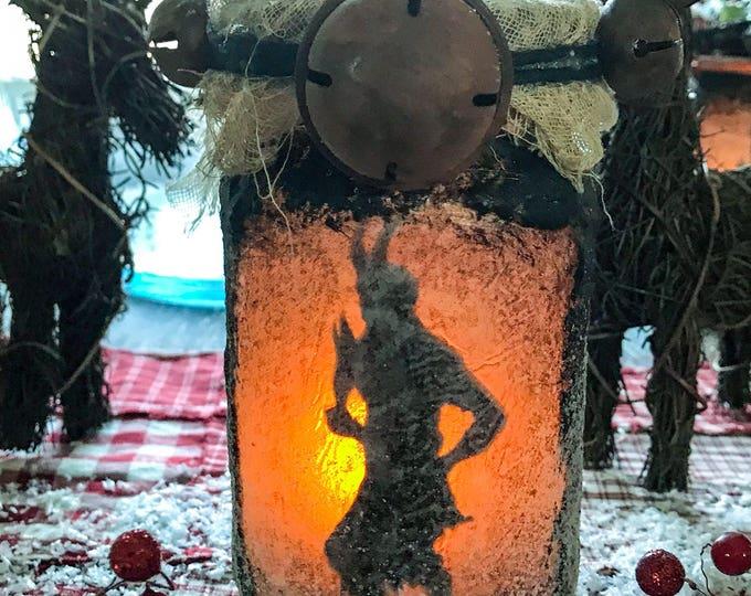 Featured listing image: Krampus, Krampus Jar Light, Krampus Jar Lantern, Yule decoration, Christmas Decor, Gruss Von Krampus, KrampusNacht