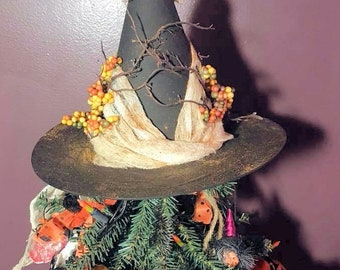 Halloween Tree Topper Witch Hat,Primitive Witch Hat,Baba Yaga's Hat ,Decorative Witch Hat,Magical Home Decor, Halloween Decoration