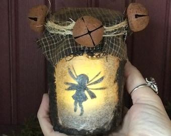 Fairy Jar Light Lantern, Primitive 8 ounce Fairy Lantern, Small Magical Night Light, Magical Captured Fairy Jar, Fairy Tale Night Light,