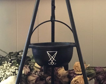 Witch Cast Iron Cauldron Set, Hand painted Lucifer cauldron, Sigil of Lucifer, Luciferian cauldron