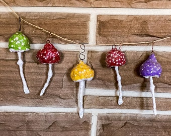 Whimsical Spun Cotton Mushroom Ornament,Glückspilz Lucky Mushroom,Toadstool Decoration,Mushroom Ornaments,Handmade Ornaments,Lucky Mushrooms