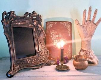 Large cast iron scrying mirror #2, art nouveau scrying mirror, witch's mirror,black divination mirror, vintage scrying divination mirror