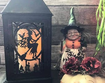 Witch Halloween Lantern,Flying Witch Tabletop Lantern, Heavy Cardboard Halloween lantern, Halloween Decoration, All Hallow's Eve Decor