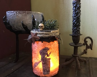 Baba Yaga light jar, Primitive Baba Yaga Lantern, Witch light jar, Primitive jar lantern, Kitchen Witch light