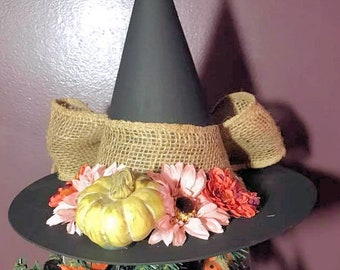 Primitive Tree Topper Witch Hat,Primitive Witch Hat,Harvest Witch Hat ,Decorative Witch Hat,Magical Home Decor, Halloween Decoration