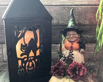 Black Cat Halloween Lantern, Scary Cat lantern, Heavy Cardboard Halloween lantern, Halloween Decoration, All Hallow's Eve Decor