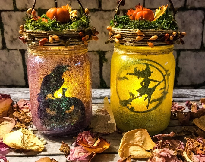 Featured listing image: Autumn Witch Jar, Halloween Fairy Lantern, Witchy In a Jar, Witch Light, Birthday Gift,Wedding Decoration,Baby Shower, Party Decoration