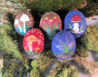 Handpainted Decorated Egg,Handpainted Ostara Egg Decor,Real Painted Easter Egg,Painted Mushrooms Nature Spring Decor,Decorative Easter Egg