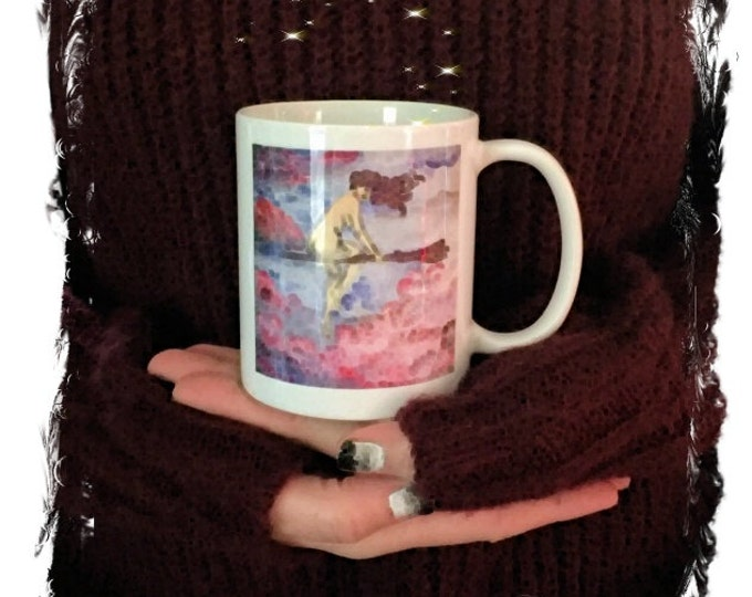 Featured listing image: Flying Witch Mug,Magical Flight Original Art, Special Edition Mug,Flying Witch Coffee Cup, Magical Sexy Cup,Pinup Witch Flight Mug Cup